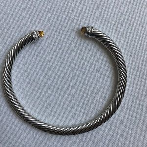 David Yurman 5mm Cable Bracelet, Citrine/Diamonds